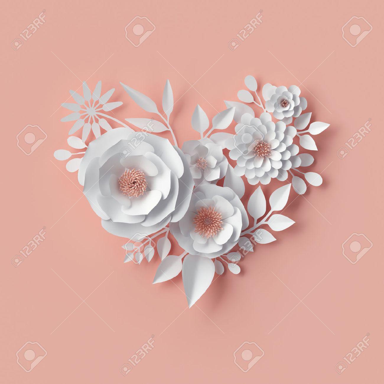 3d Render, Digital Illustration, White Paper Flowers, Blush Pink Wall Decor,  Floral