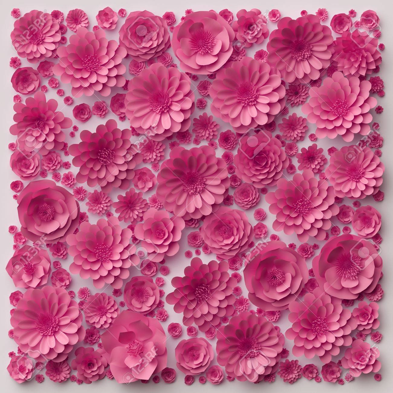 3d Illustration Pink Paper Flowers Wallpaper Floral Background