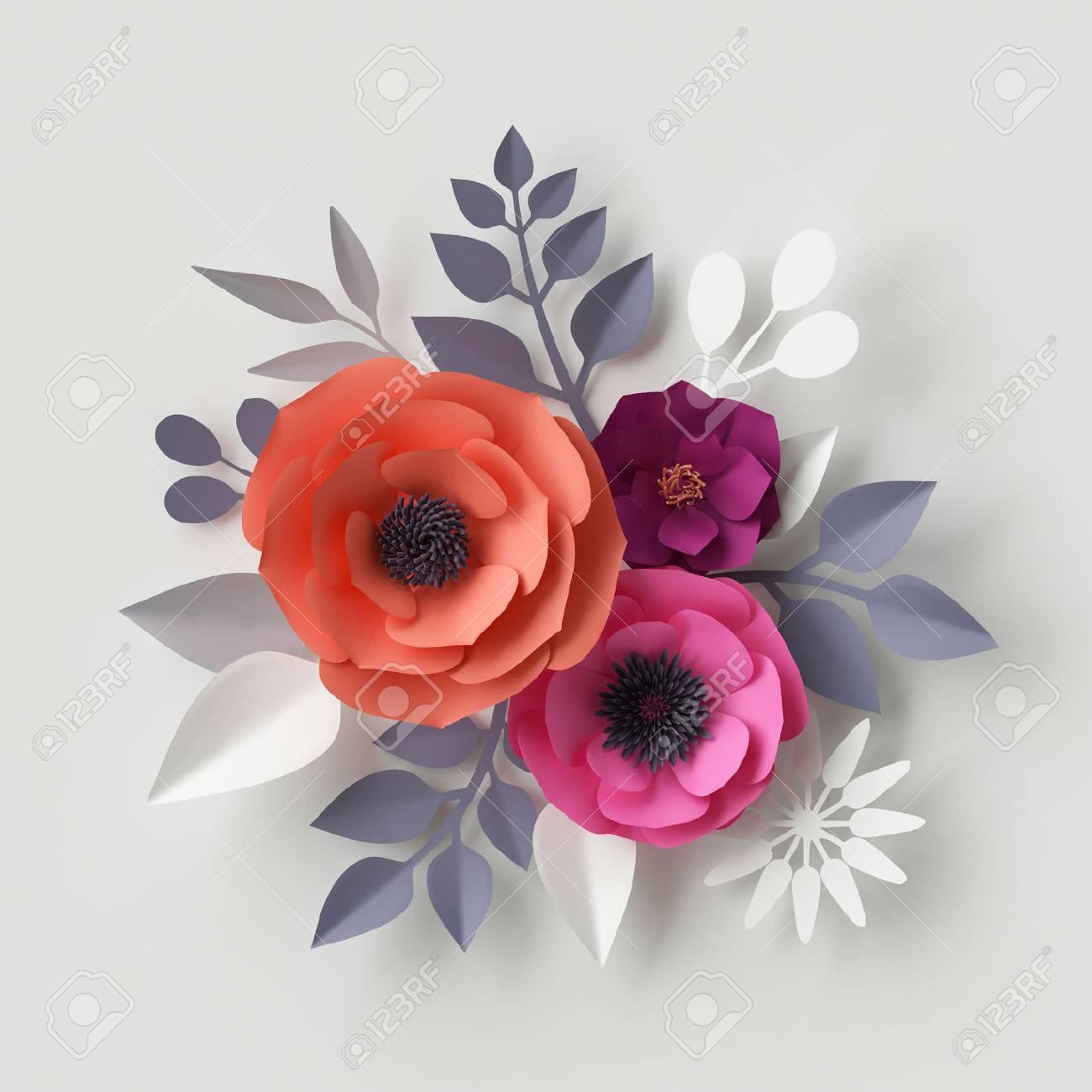 3d render digital illustration red pink paper flowers floral 3d render digital illustration red pink paper flowers floral background wedding card mightylinksfo