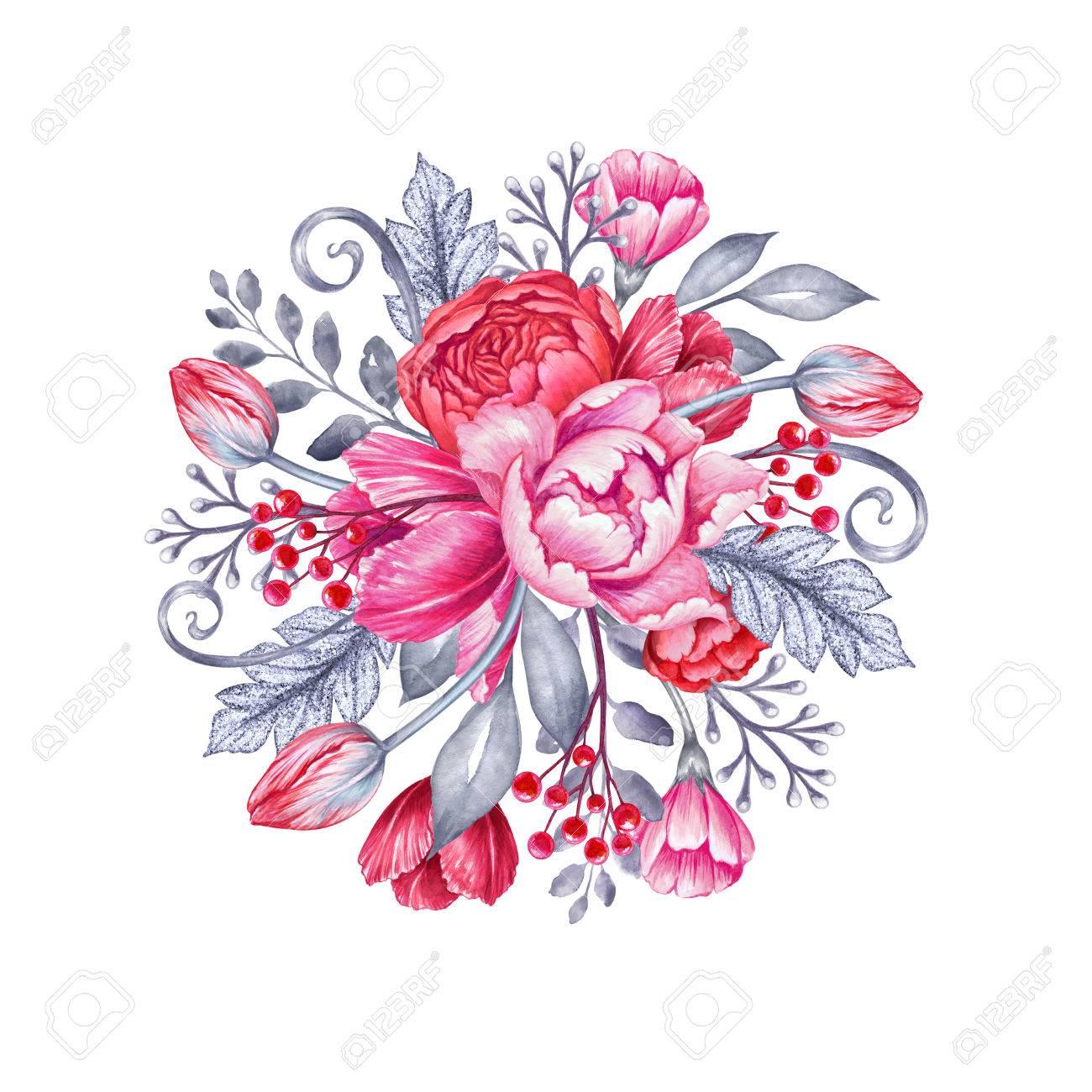 水彩イラスト結婚式の花ブライダル ブーケ ラウンド花の背景 の