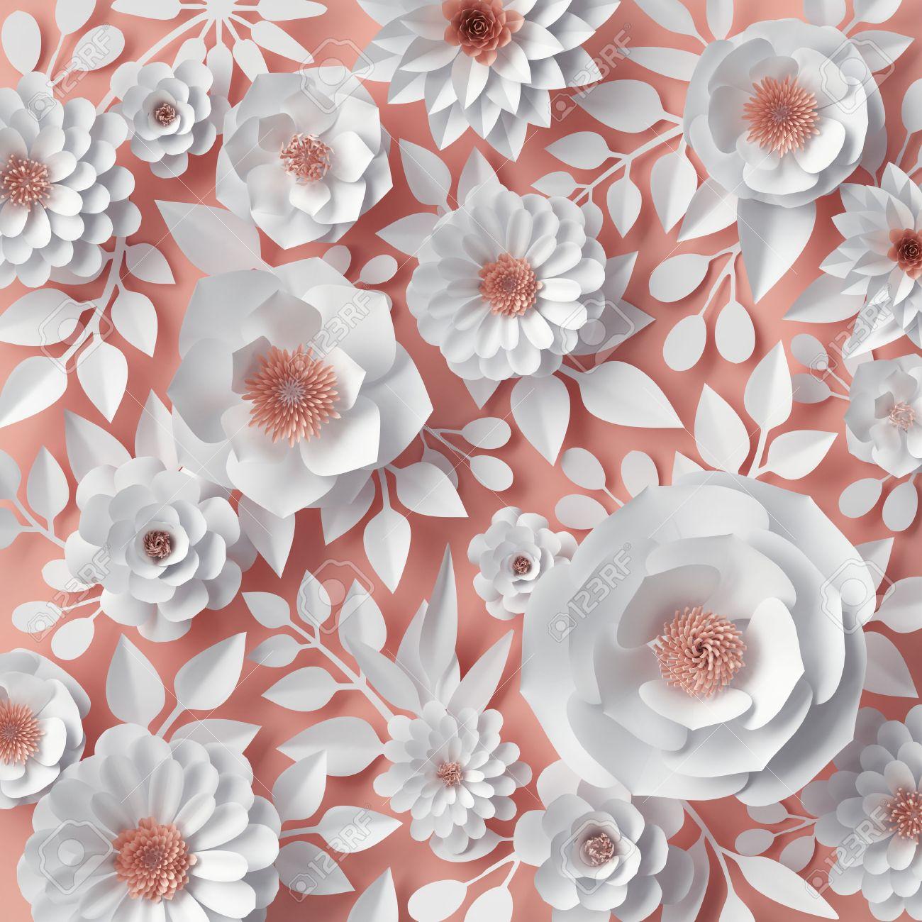 3d render digital illustration white paper flowers bridal stock 3d render digital illustration white paper flowers bridal bouquet wedding card izmirmasajfo