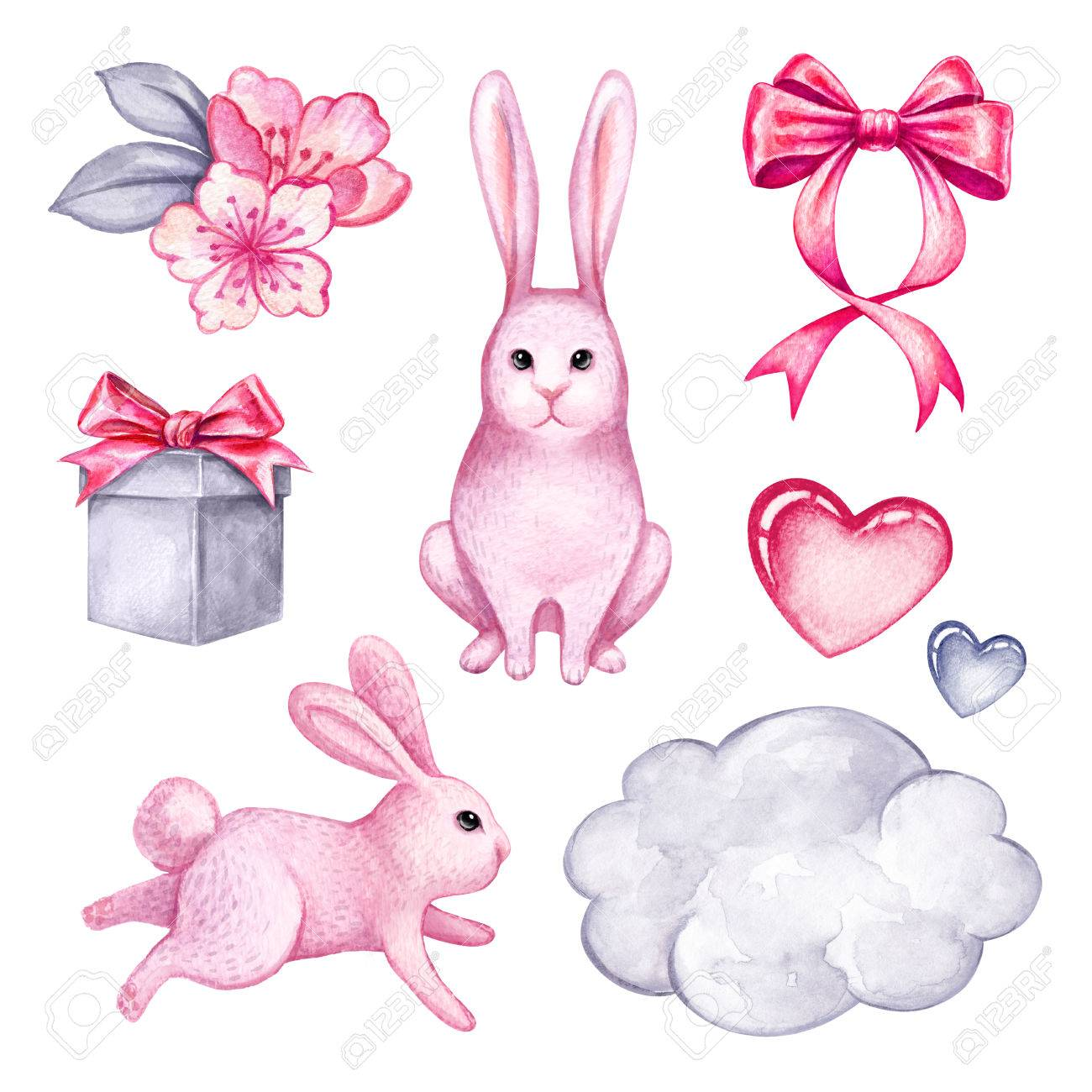 Watercolor illustration pink cute bunny easter rabbit holiday illustration watercolor illustration pink cute bunny easter rabbit holiday gift clip art isolated on white background negle Gallery