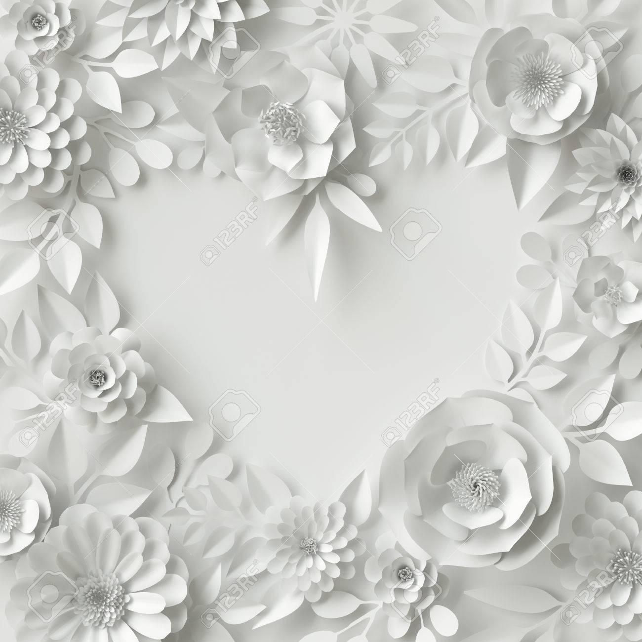 3d Render, Digital Illustration, White Paper Flowers, Floral.. Stock ...