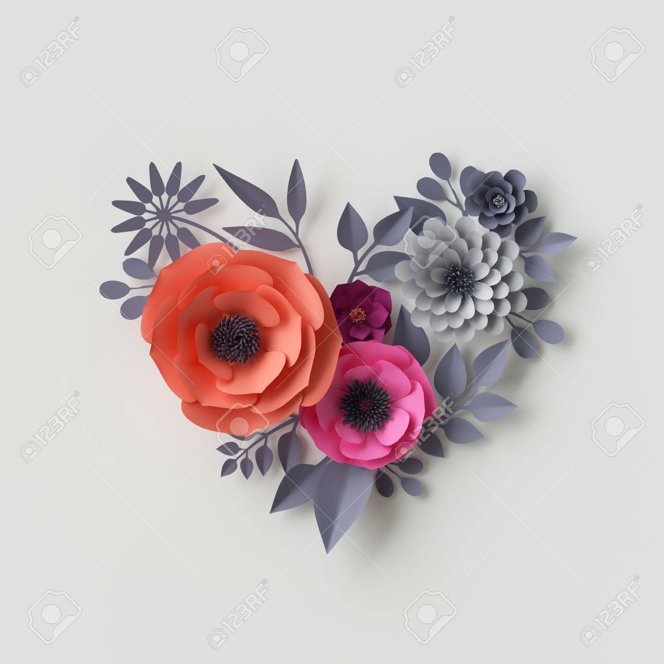 3d Illustration, Pink Red Paper Flowers, Floral Background, Bridal ...