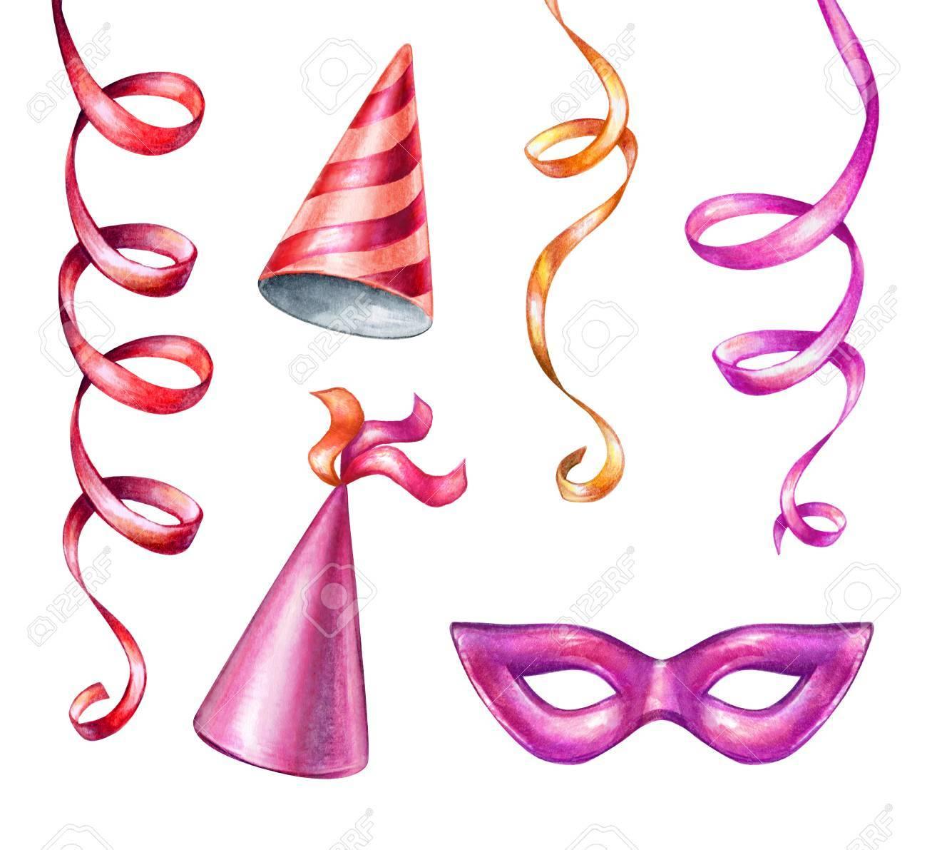 Aquarell Illustration Festliche Clipart Party Accessoires Bander
