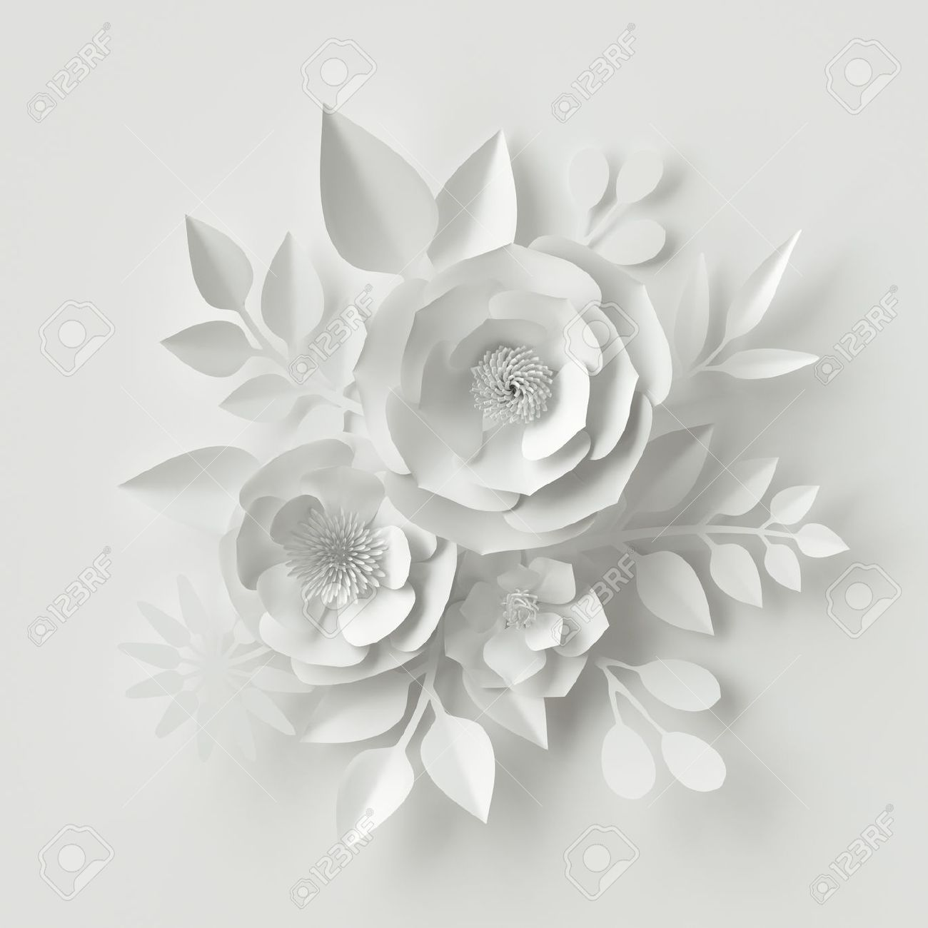3d Render Digital Illustration White Paper Flowers Floral Stock