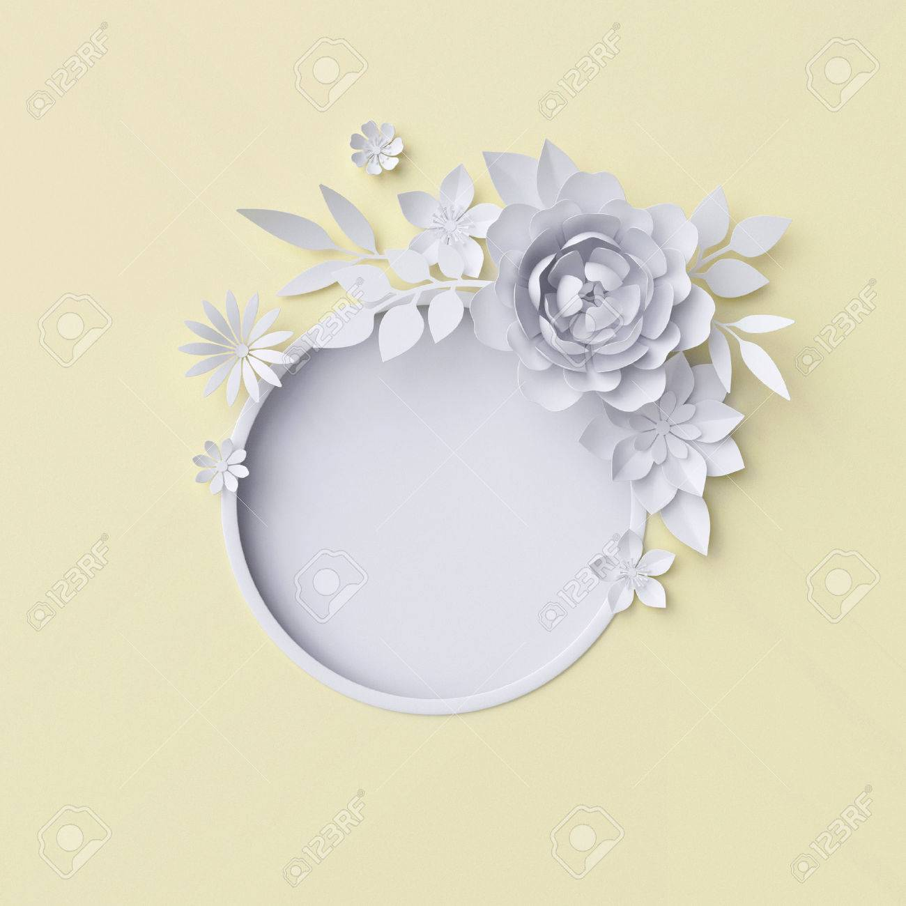 3d illustration white paper flowers decorative floral background 3d illustration white paper flowers decorative floral background wedding album page greeting mightylinksfo
