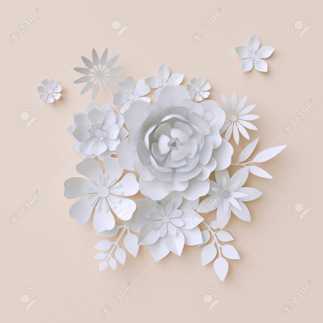 3d illustration white paper flowers decorative floral background wedding album page greeting