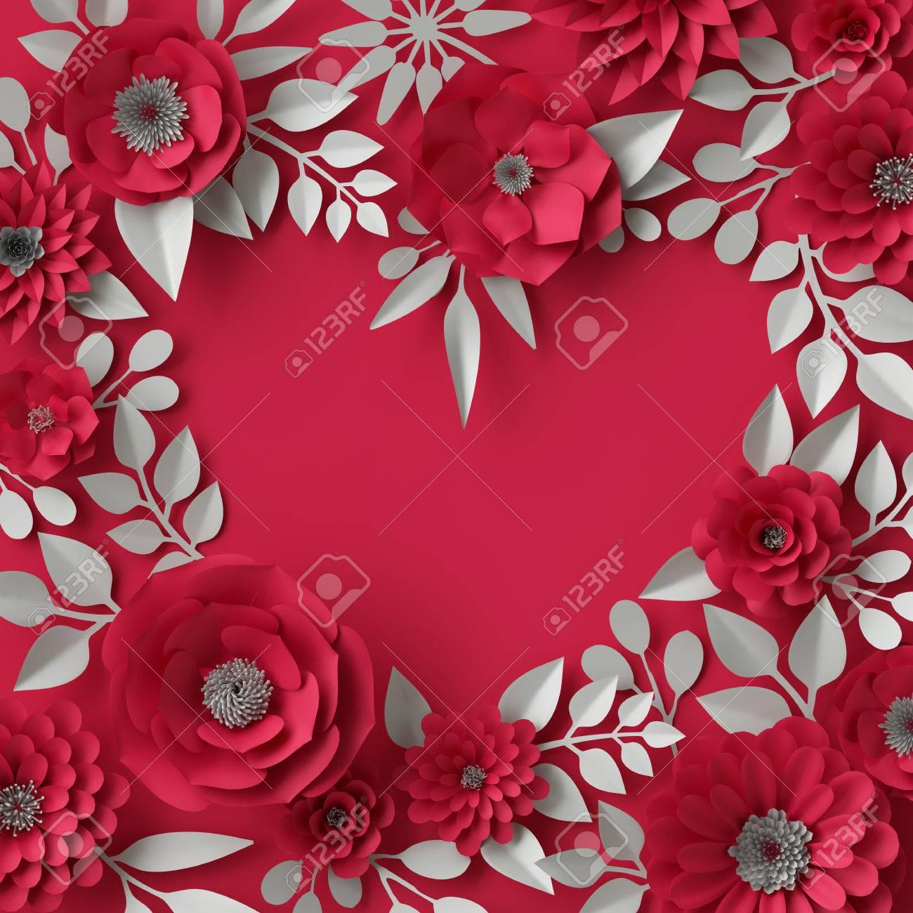 3d Ilustración, Papel Decorativo De Color Rojo Flores De Fondo, El ...