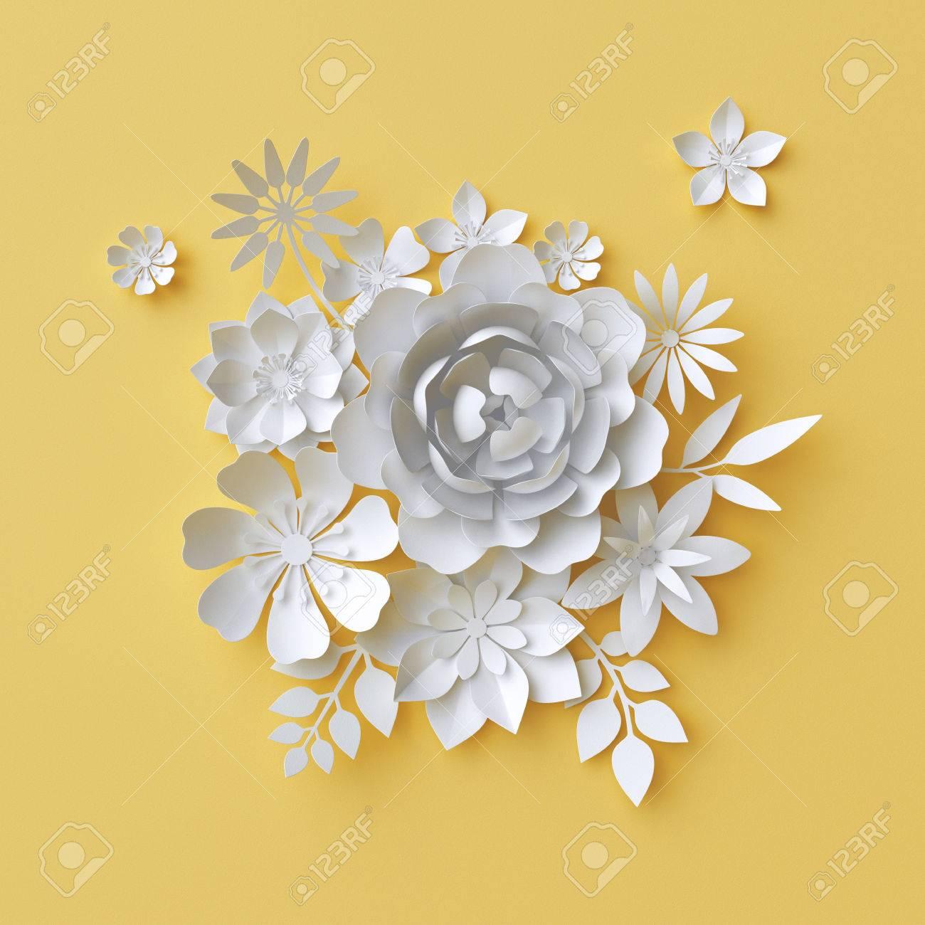 3d Render, Digital Illustration, White Paper Flowers On Yellow ...