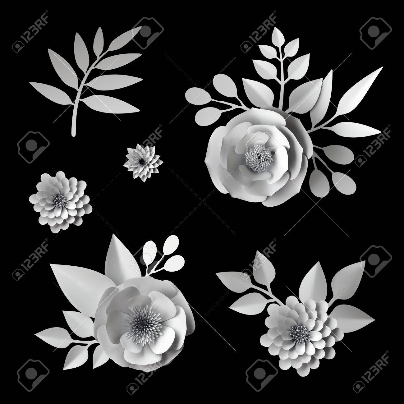 3d white paper flowers design elements collection clip art set isolated on black