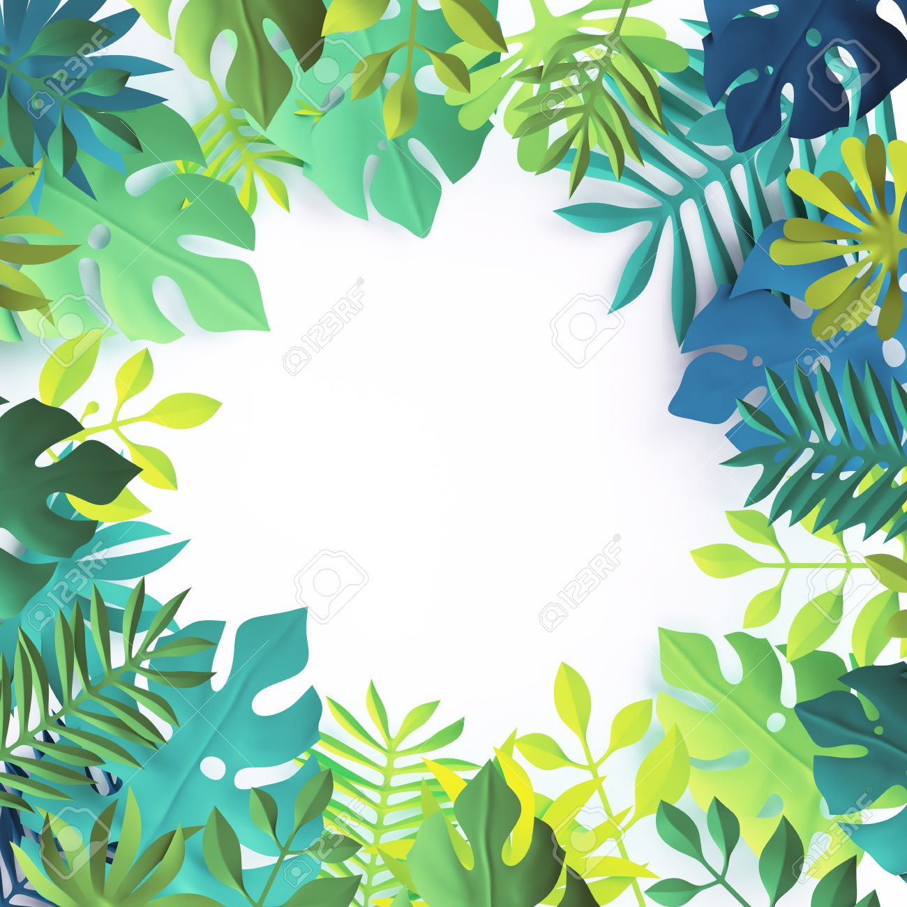 3d Tropical Paper Leaves Jungle Wallpaper Square Frame White