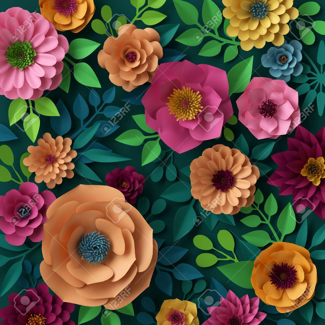 3d render digital illustration colorful paper flowers wallpaper 3d render digital illustration colorful paper flowers wallpaper spring summer background stock illustration mightylinksfo