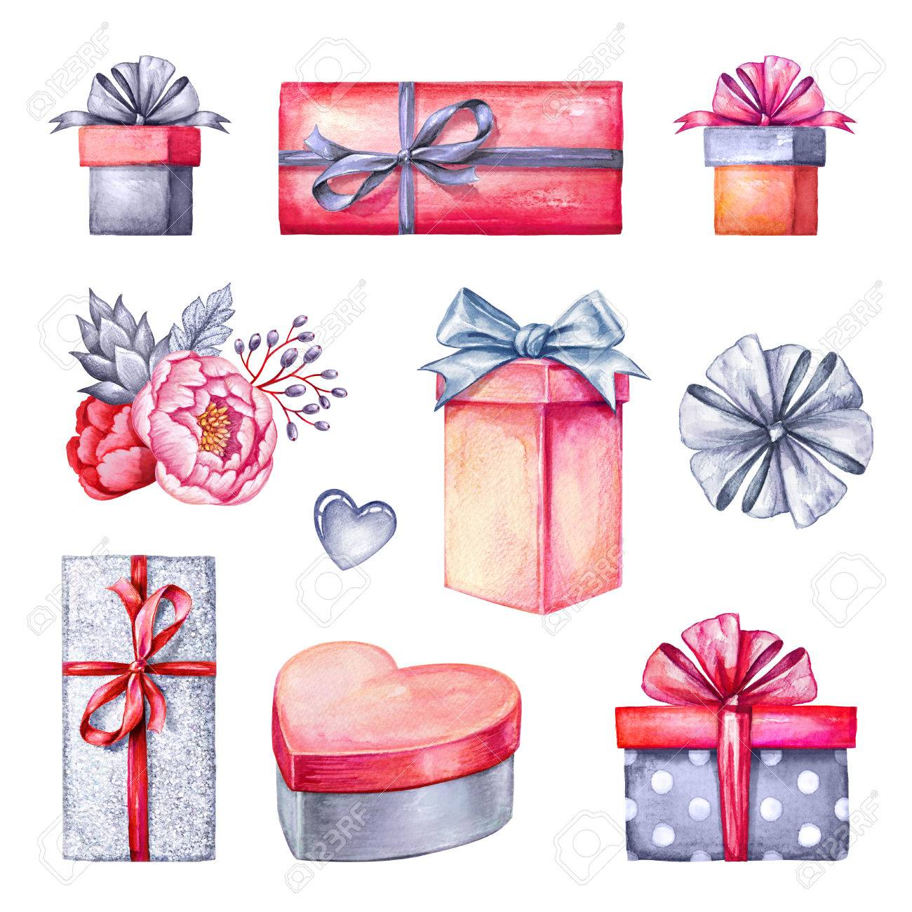 Watercolor illustration gift boxes pile floral decoration stock illustration watercolor illustration gift boxes pile floral decoration valentines day clip art birthday presents design elements isolated on white negle Choice Image
