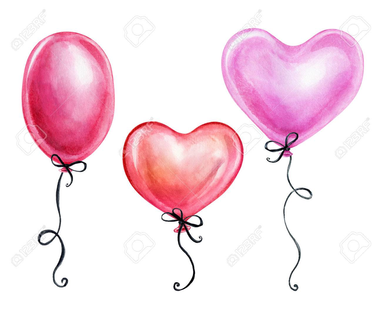 Watercolor Illustration Cute Pink Air Balloons Valentine S Stock