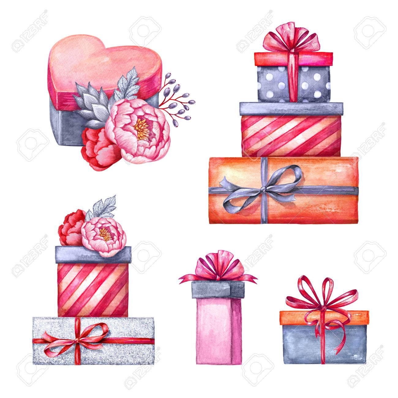 水彩イラスト ギフト ボックス山花飾りバレンタインのクリップアート