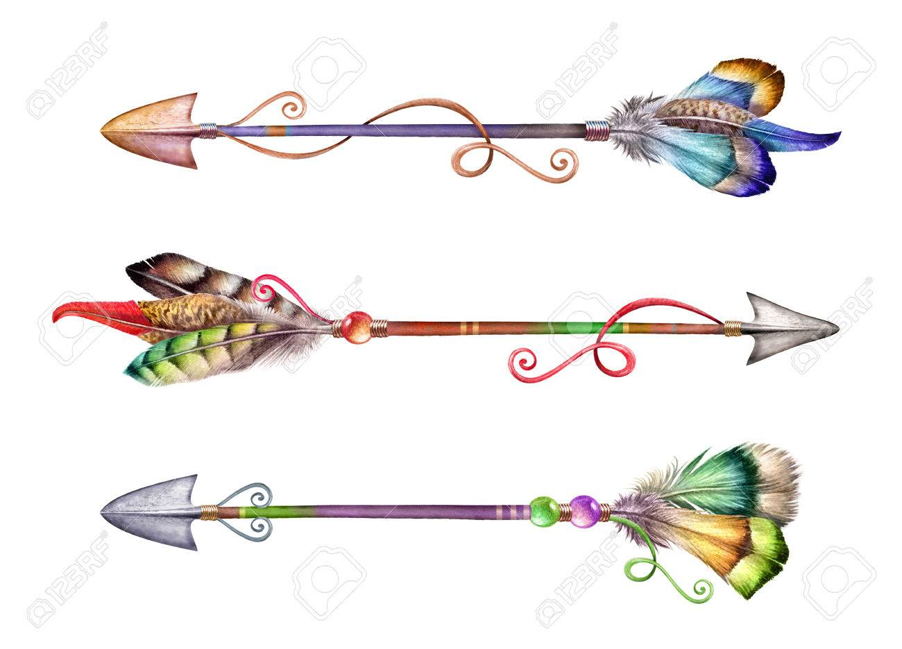 Bohemian Arrows with Feathers and Flowers Original Watercolor 5x7\u201d
