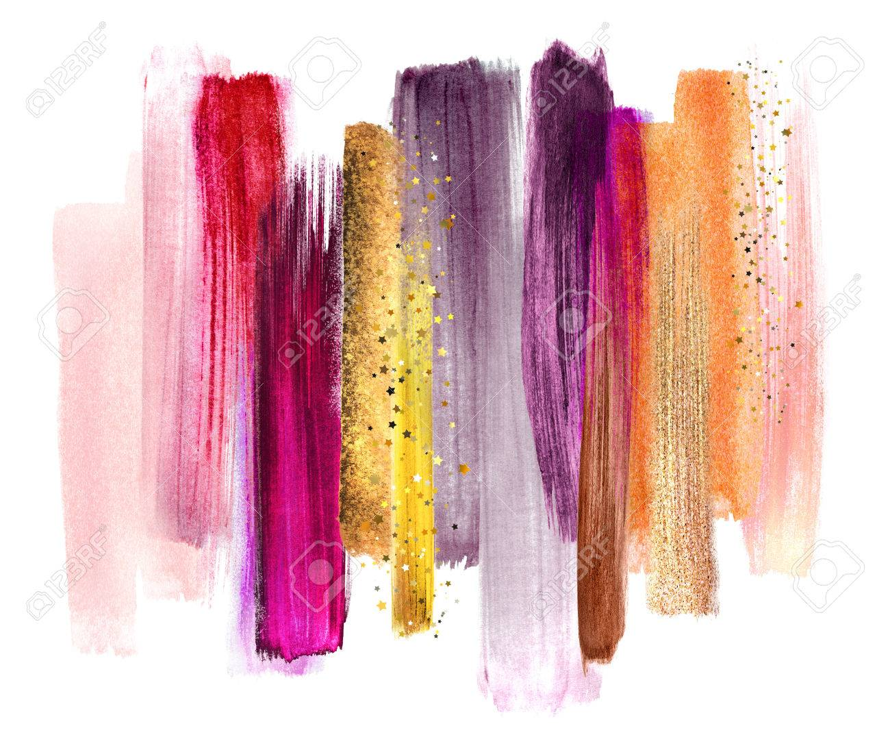 abstract watercolor brush strokes, creative illustration, artistic color palette, fuchsia red gold - 77079944