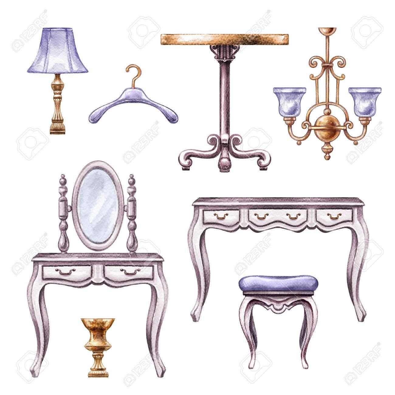 Illustration D Aquarelle Meubles De Chambre Vintage Boudoir