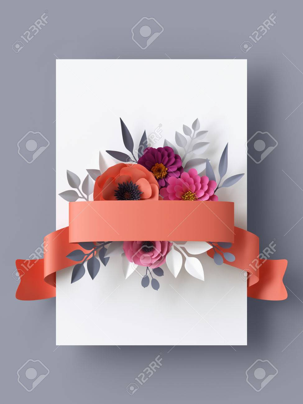 3d render abstract paper flowers vertical floral background 3d render abstract paper flowers vertical floral background blank card template coral mightylinksfo