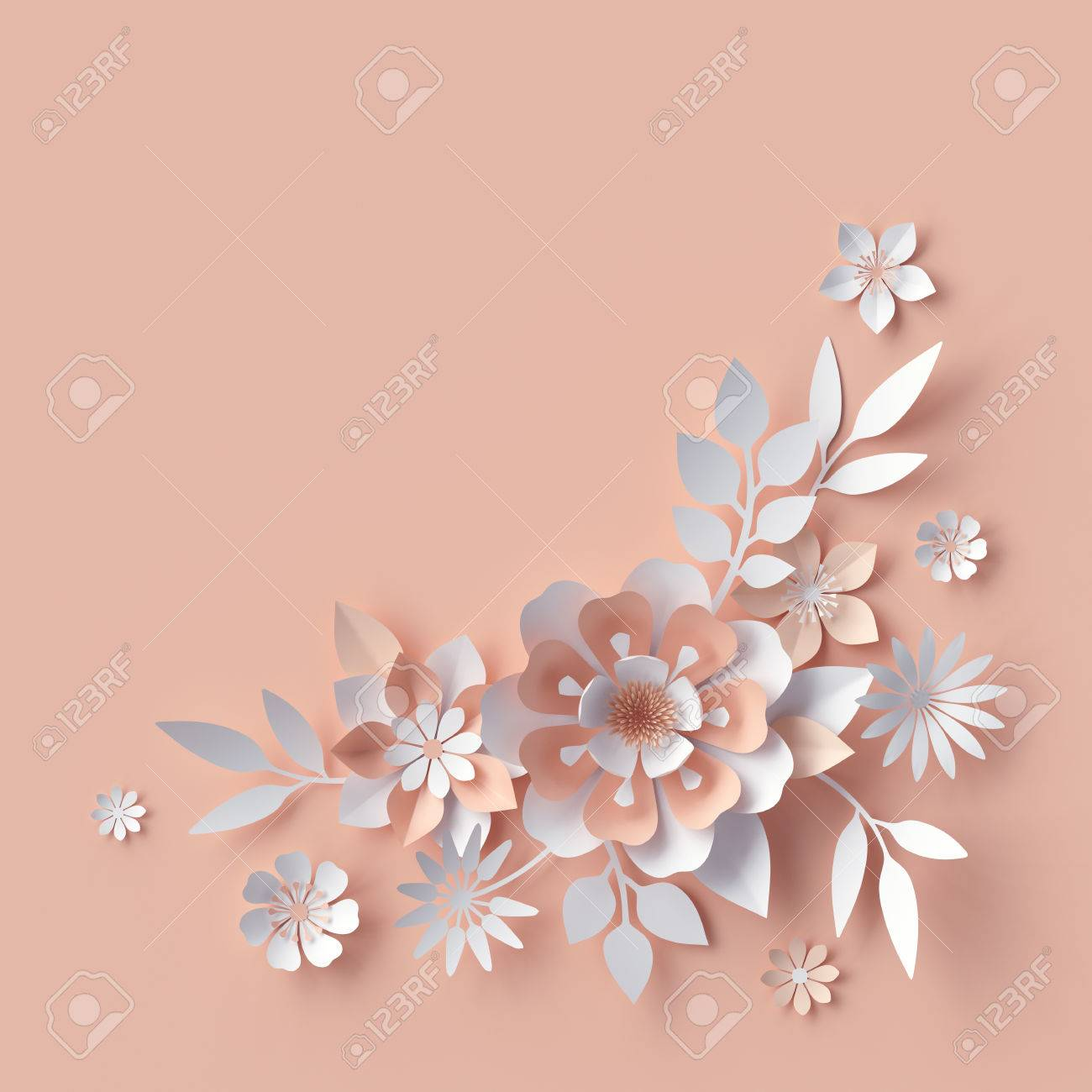 3d Render Abstract Paper Flowers Decorative Floral Background