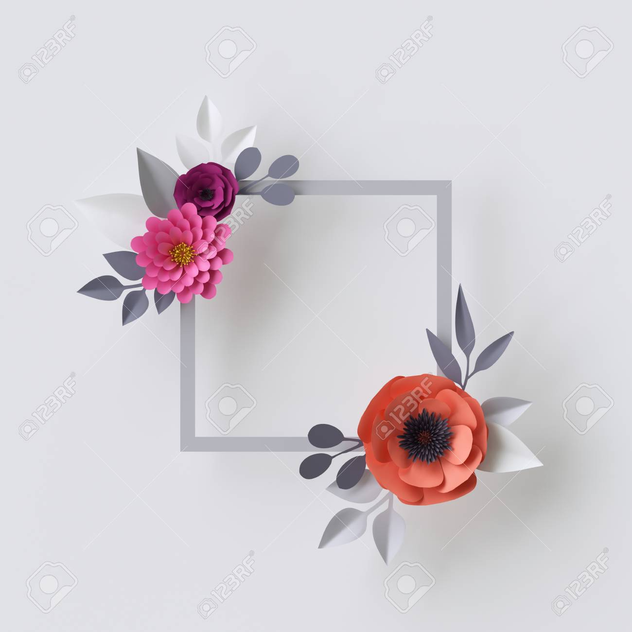 3d render abstract paper flowers floral background blank square 3d render abstract paper flowers floral background blank square frame greeting card mightylinksfo