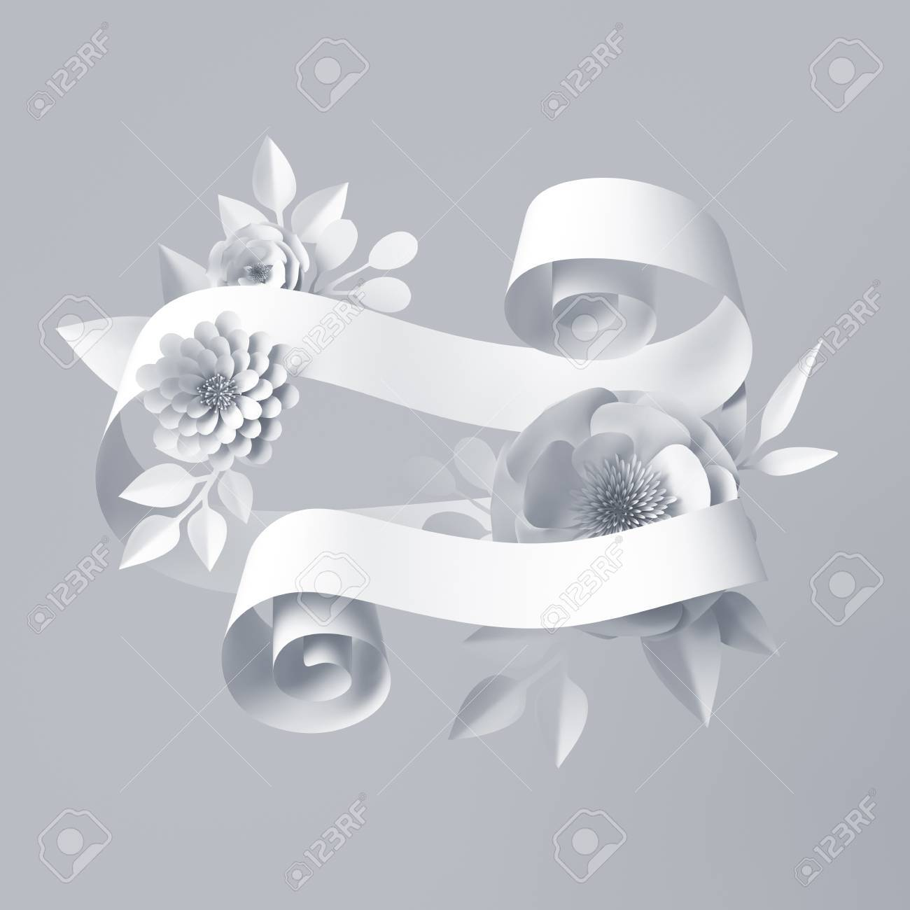 3d Render, Abstract White Curly Ribbon, Paper Flowers, Festive ...