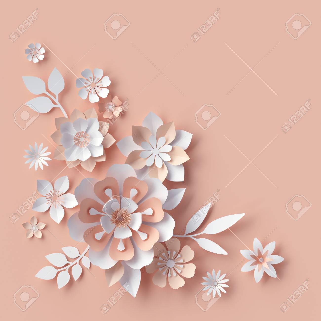 3d Render Abstract Paper Flowers Decorative Corner Peachy Stock