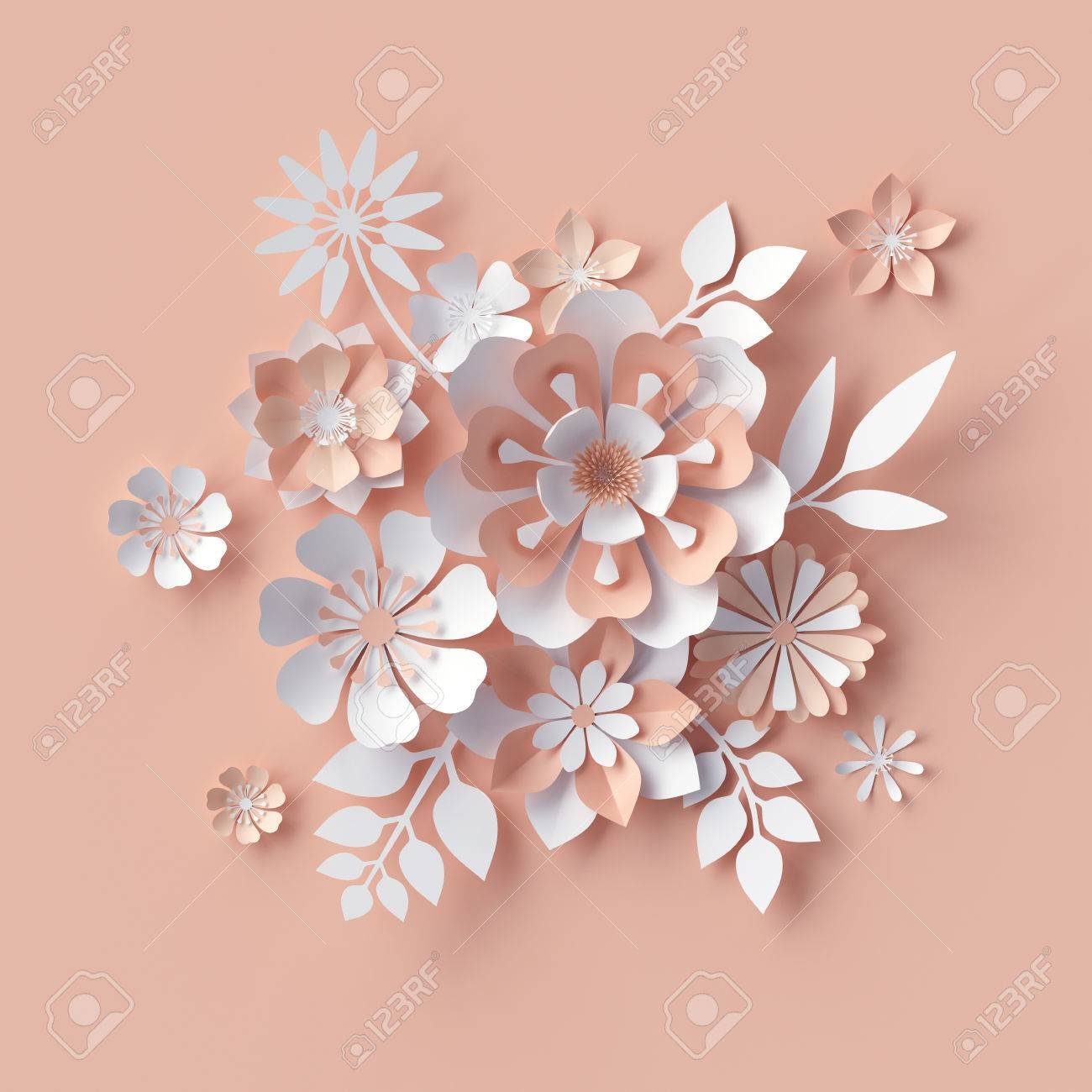 3d render abstract paper flowers decorative peach floral 3d render abstract paper flowers decorative peach floral background greeting card template mightylinksfo
