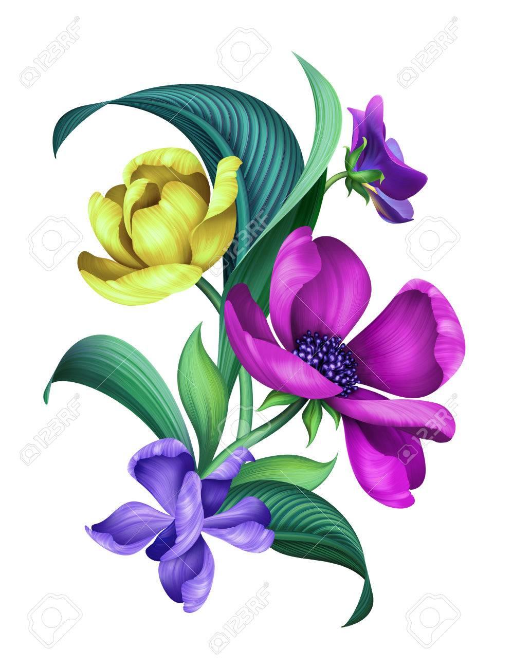 Ilustracion Botanica Adornos Florales Modernos Ramo De Flores - Adornos-florales