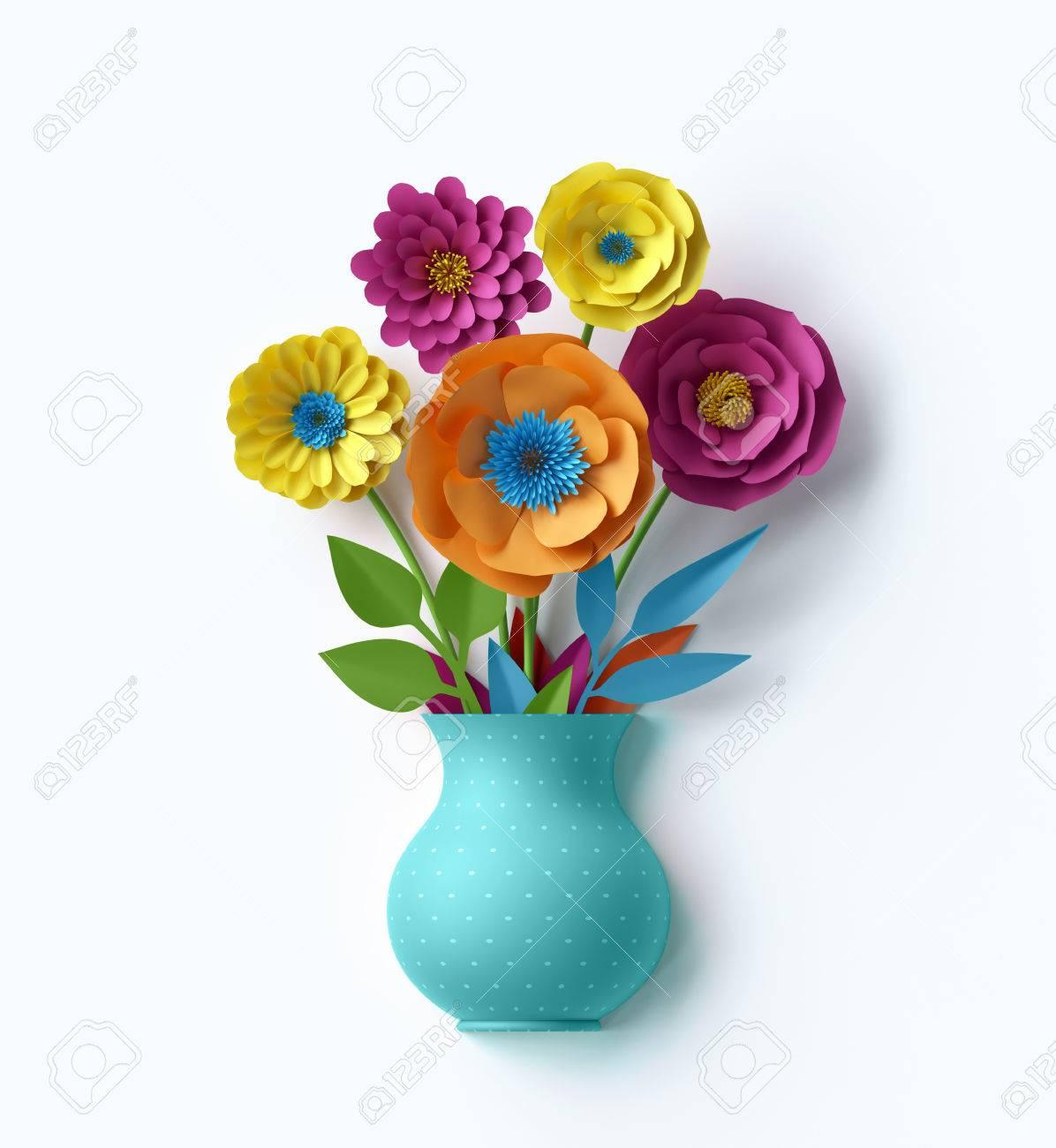 3d Render Digital Illustration Cute Vase With Colorful Paper