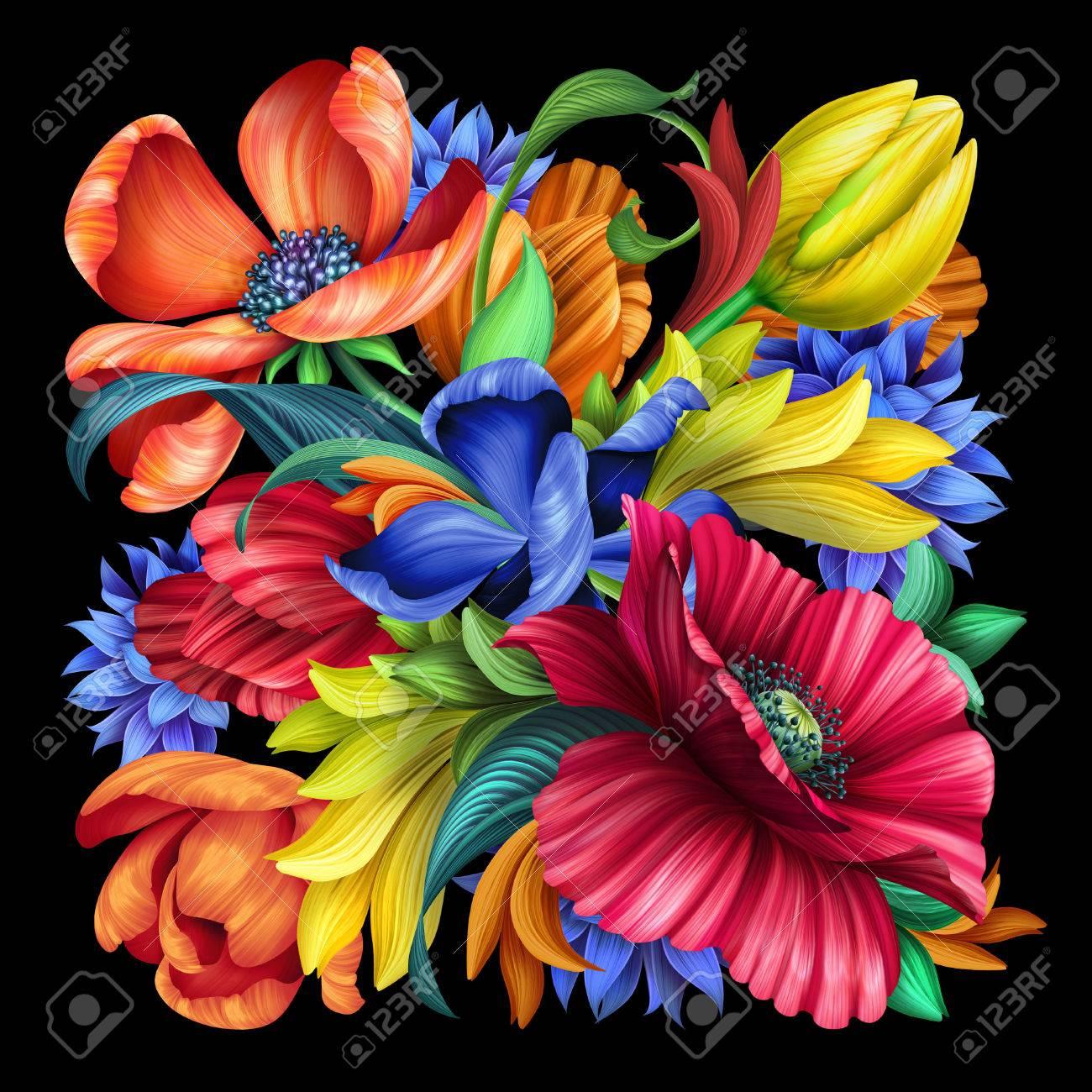 Ilustracion Botanica Adornos Florales Populares Ramo De Flores De - Adornos-florales