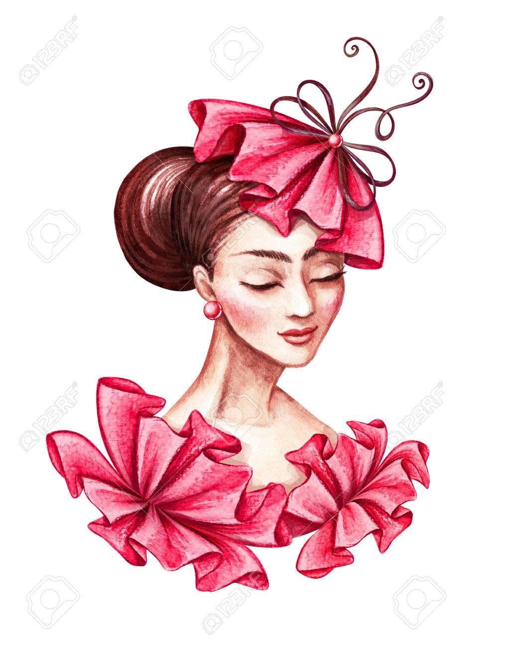 Ilustración De Acuarela, Retrato De Mujer Joven Y Bella, Vistiendo ...