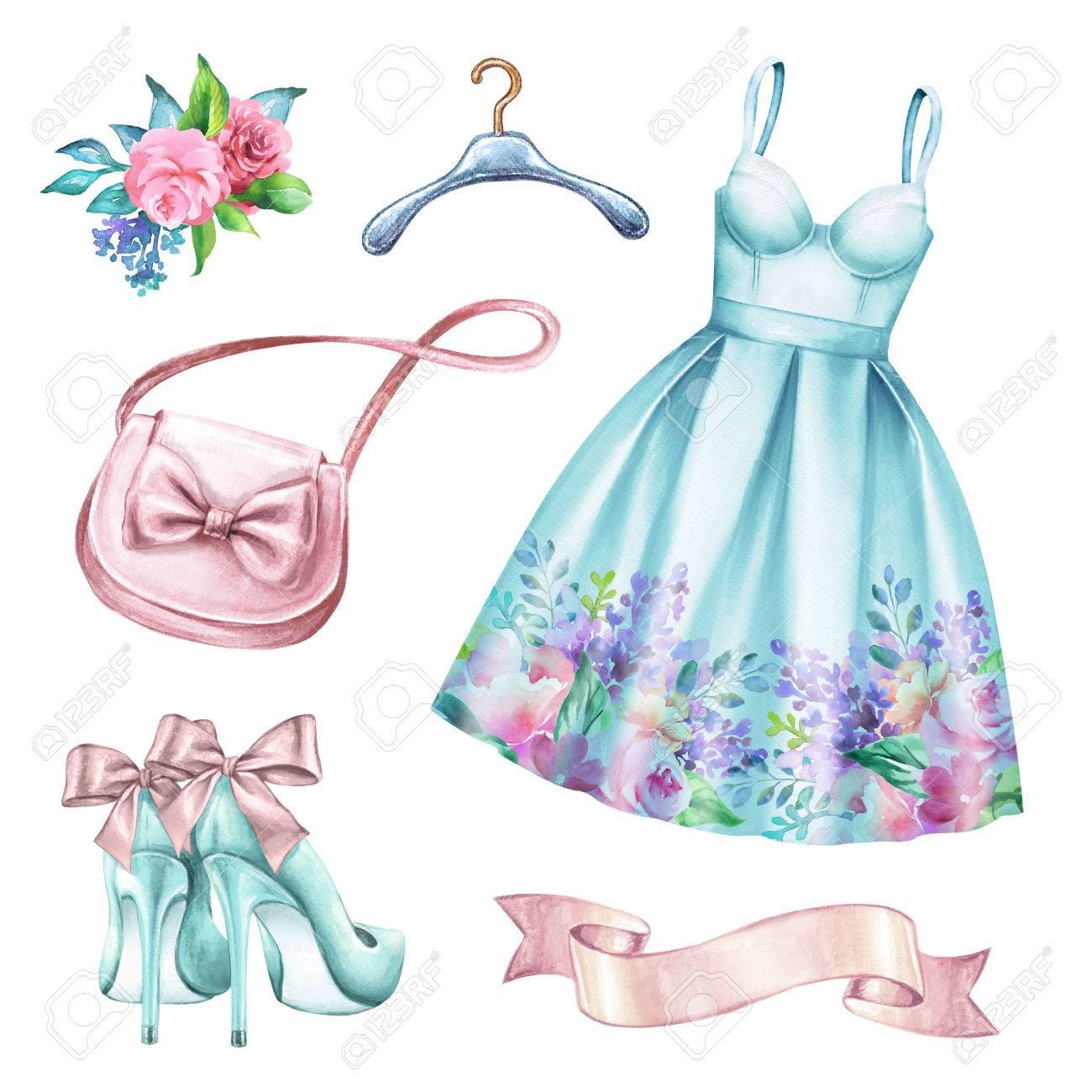 Watercolor Wedding Fashion Illustration, Festive Accessories ...