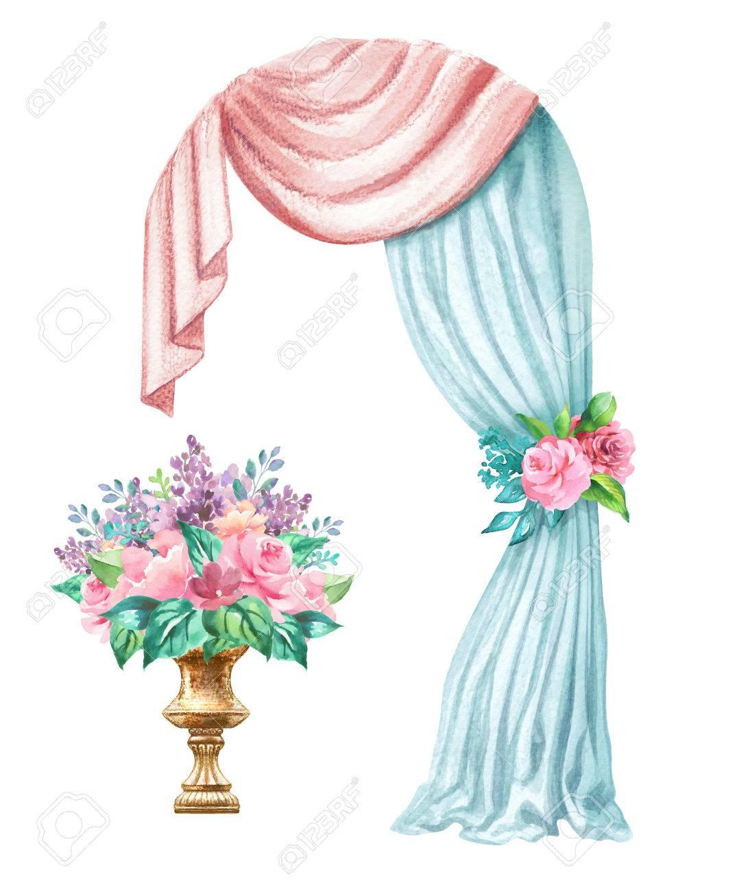 watercolor wedding illustration festive frame decorative arch