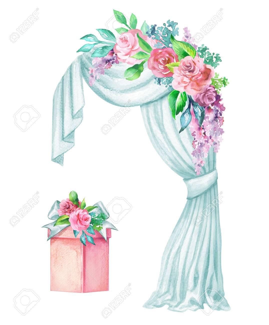 watercolor wedding illustration decorative arch window curtain