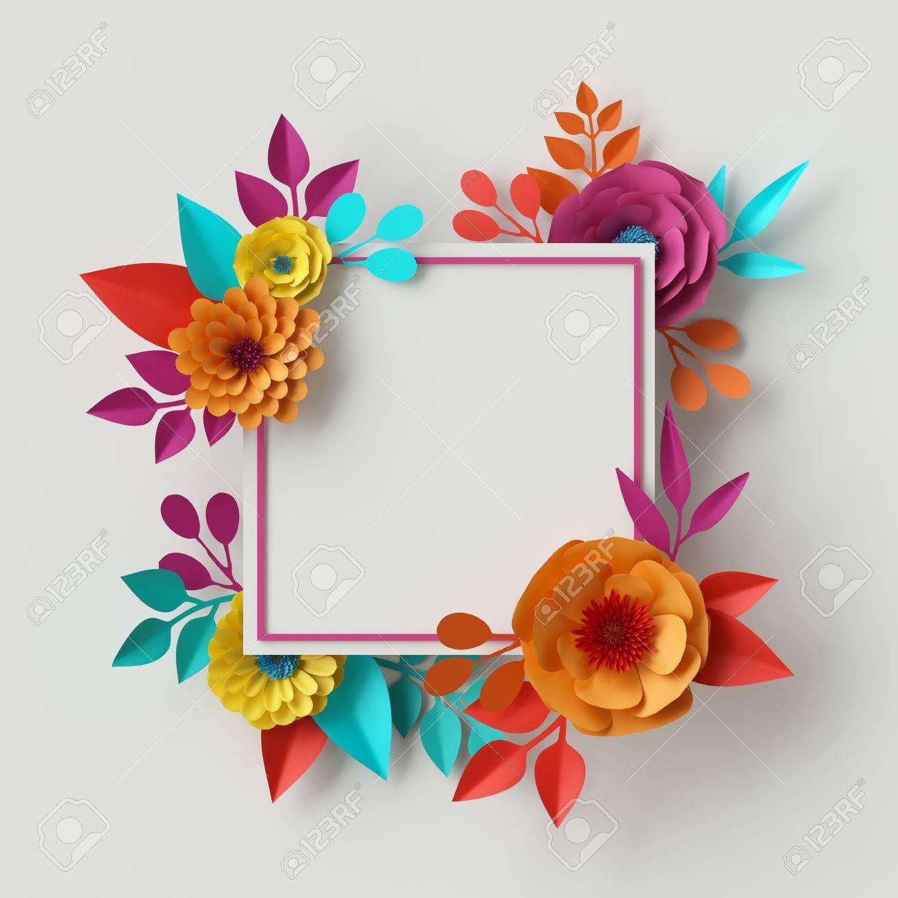 Procesamiento 3d, Ilustración Digital, Marco Abstracto, Flores De ...