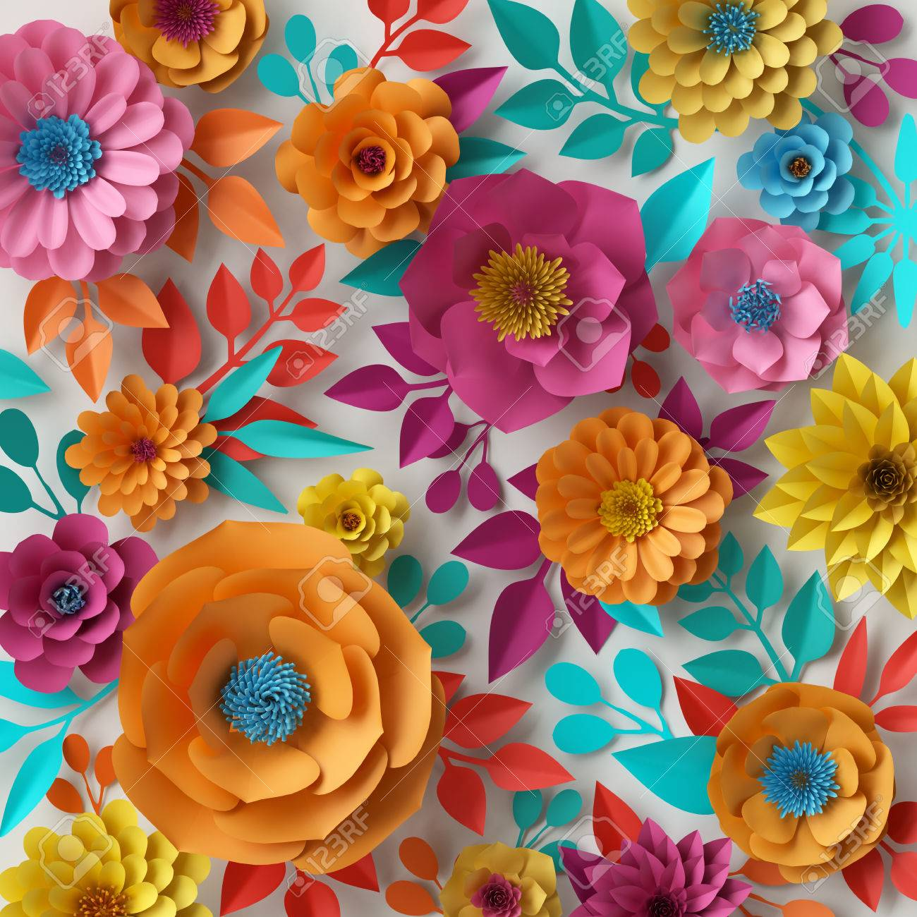 3d Render Digital Illustration Colorful Paper Flowers Wallpaper