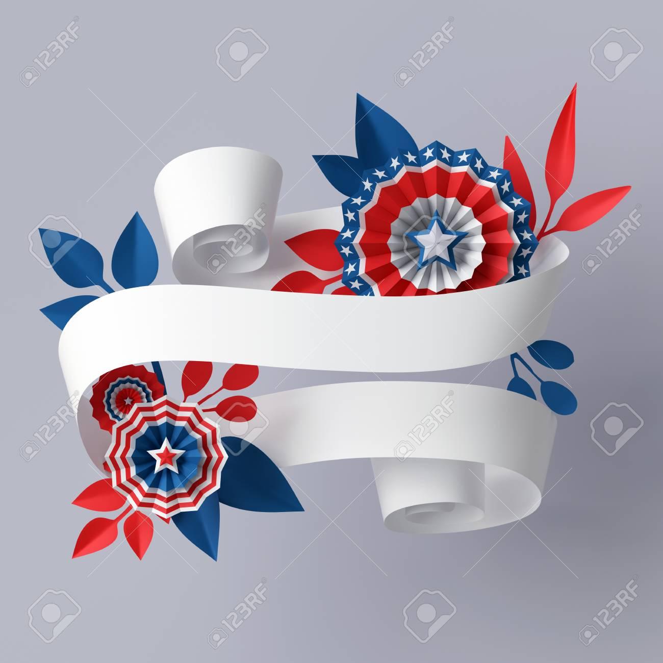 Render 3D, Ilustración Digital, Flores De Papel Azul Rojo Abstracto ...