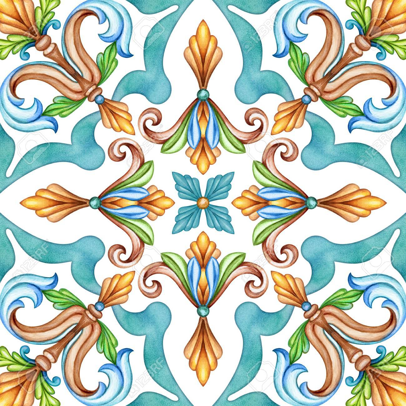 Abstract Seamless Classic Pattern, Antique Mosaic Ornament, Medieval ...