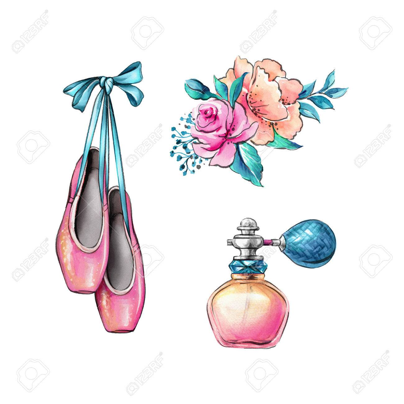 watercolor illustration ballerina shoes flowers fragrance stock