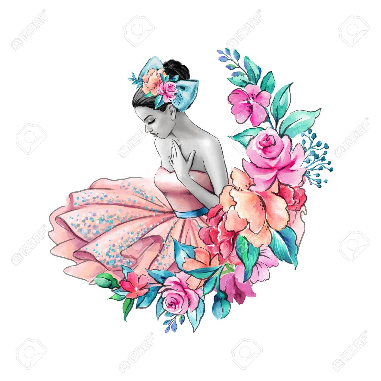 Ilustración Acuarela, Niña De Las Flores, Boda Floral, Retrato De La ...