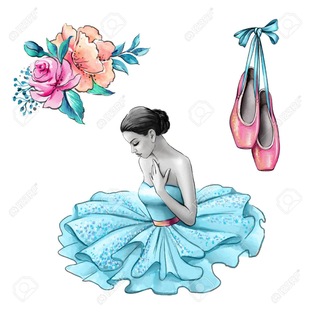 Watercolor Illustration Ballerina In Blue Dress Flowers Shoes