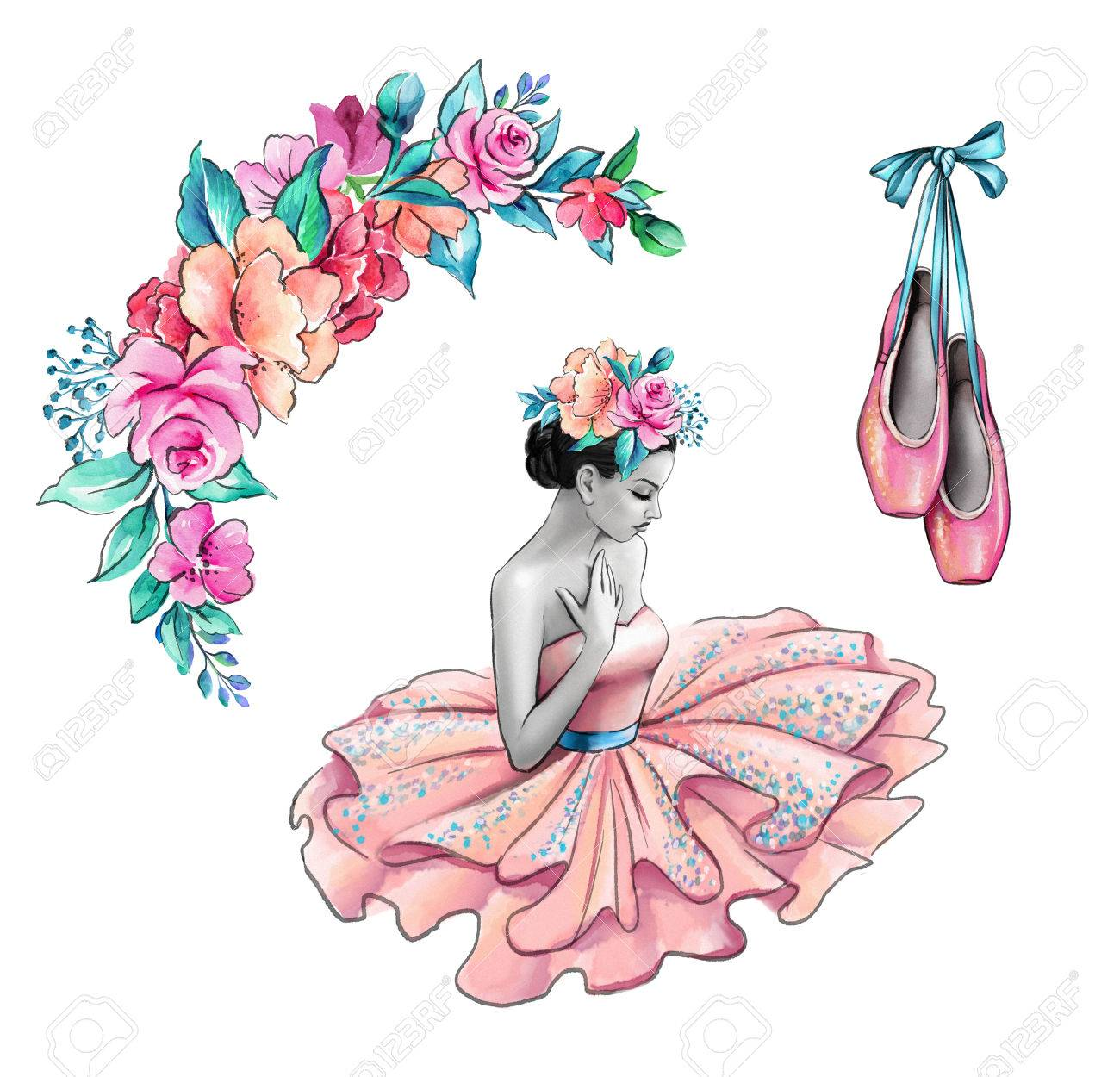 Watercolor illustration ballerina in pink dress flowers shoes illustration watercolor illustration ballerina in pink dress flowers shoes retro fashion accessories isolated on white background mightylinksfo