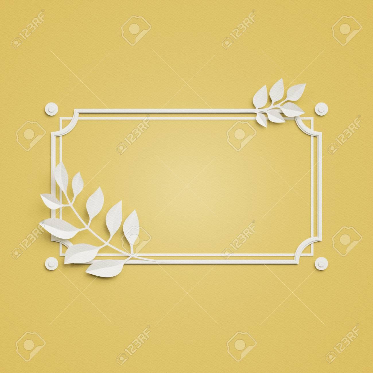 3d übertragen, Gelber Papierhandwerkhintergrund, Palmblätter ...