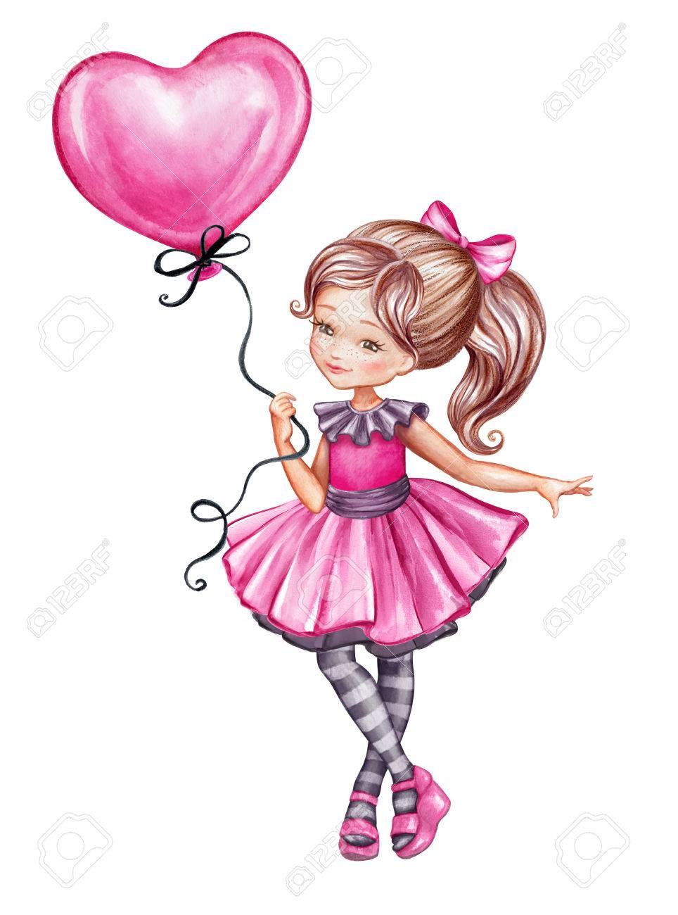 Ilustración Acuarela, Linda Chica En Vestido Rosa Con Globo Rosado ...