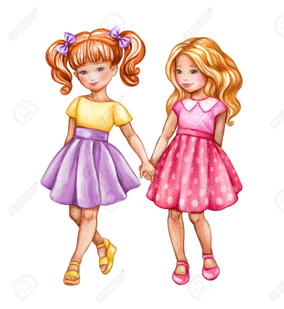 水彩イラスト、親友、かわいい女の子が手をつないで、子供、ティーンエイ