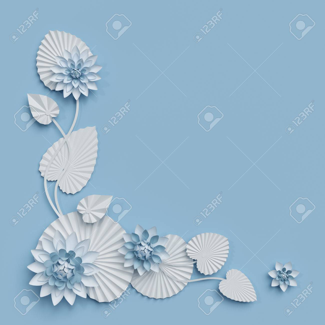 3d Render Paper Lotus Flowers Blue Wall Decoration Border White Water Lily