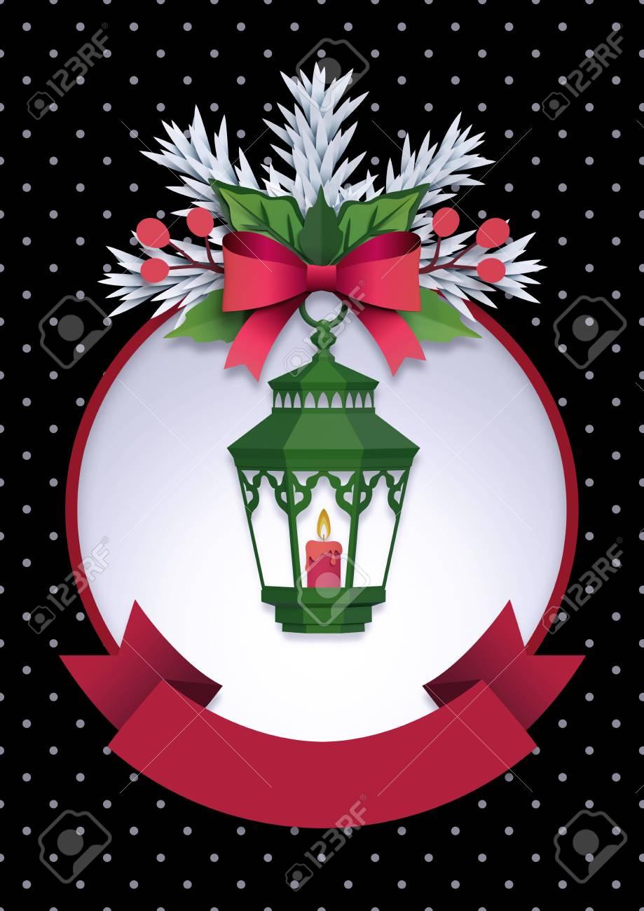 3d Render, Christmas Lantern, Black Background, Paper Cut, Festive ...