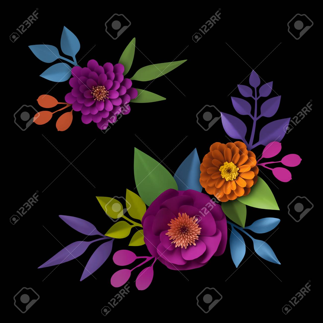 3d Render Abstract Colorful Paper Flowers Wall Decor Autumn